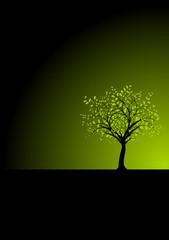vecteur image, arbre vectoriel fond noir - green tree on black