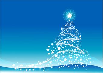 Christmas Tree Scene in blue