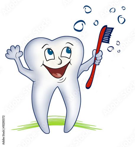 freundlicher gesunder zahn mit zahnbürste - illustration\
