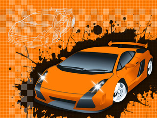 Supercar Background raster illustration.