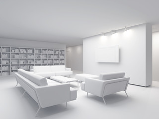 white place for rest in apartment 3 d image