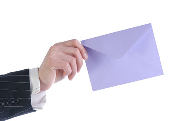 hand with an envelope isolated on white background