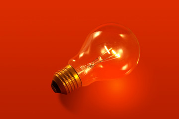 Red background with lightbulb