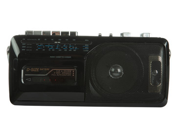 A black cassette radio isolated on black with clipping paths