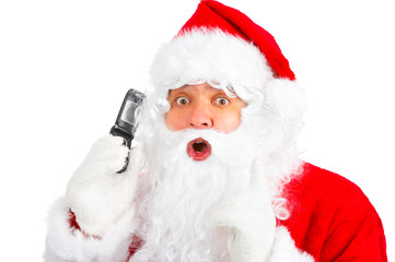 Christmas Santa with cellular. Over white background.
