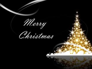 Christmas tree with Merry Christmas greetings