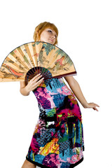 Pretty, young model holding big, Chinese fan