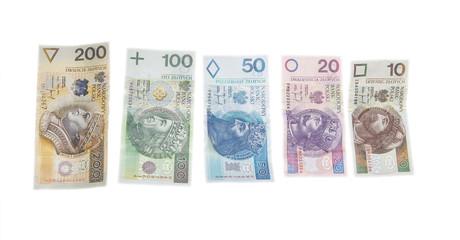 Polish money are isolated on white background