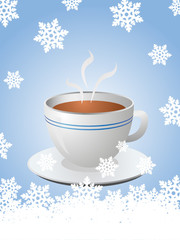 Christmas card with hot cup of coffee