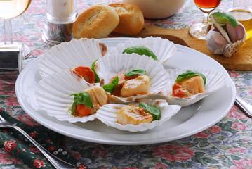 Capesante al forno - Antipasti di pesce - Cucina Toscana