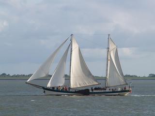 Segelschif auf der Jade