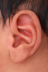 close-up of an ear of an infant