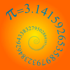 pi number on many digits in spiral