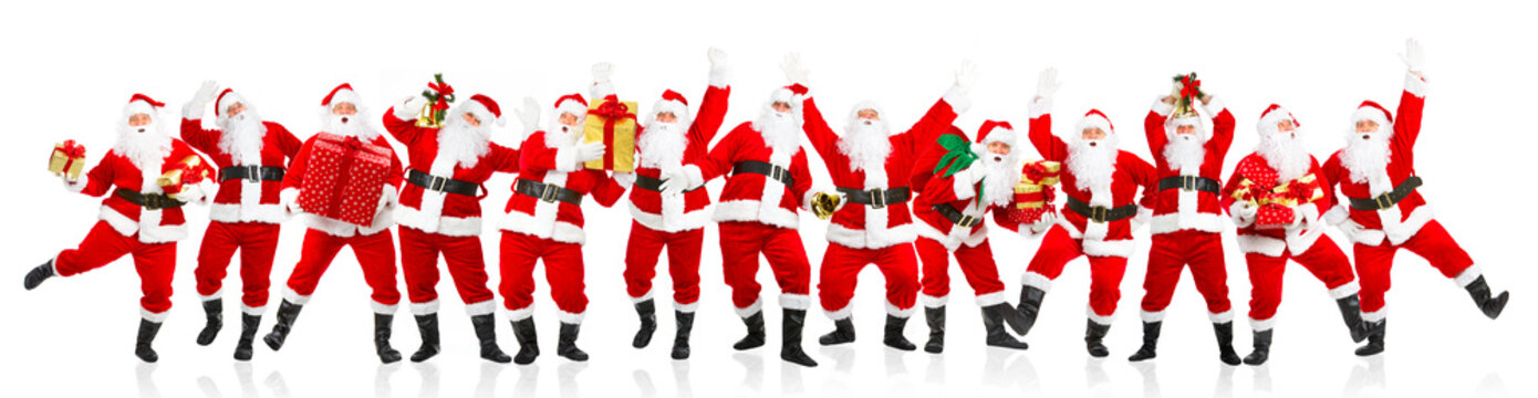 Happy dancing Christmas Santa. Isolated over white background.