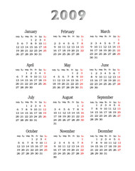 Calendar 2009, isolated on white