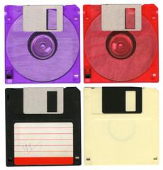 Floppy disks on white background