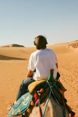 adolescent randonnant dans le désert