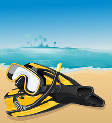Flippers and swimming mask, vector illustration