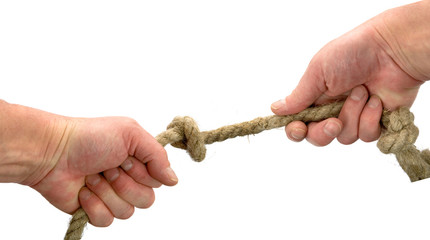 Hand keeps rope with node on white background