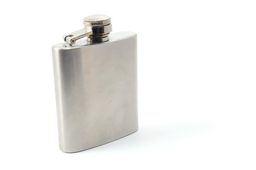 hip flask for alcohol isolated on white background