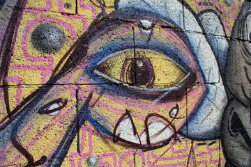 graffiti ojo en la ciudad. arte urbano