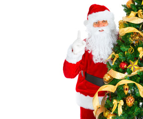 Smiling Santa and Christmas Tree. Over white background.