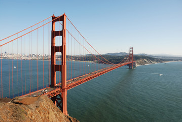 golden gate in october afternoon light with clear sky