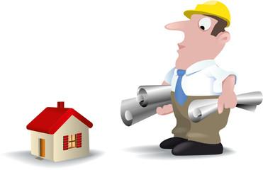 Architekt mit Plänen schaut auf kleines Haus