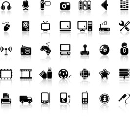 Video And Audio Vector Black Icon Set