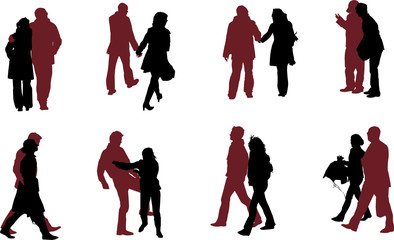 eight couple  silhouettes, vector collection