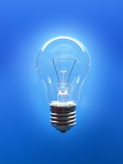 Single lightbulb on a blue background.