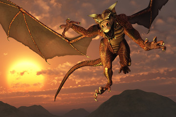 Spoed Fotobehang Draken 3D render of a dragon flying at sunset.