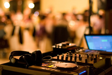 dj club dance party background with sound mixer console