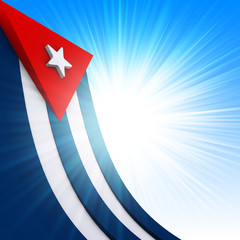 The Cuban flag on abstract glow background
