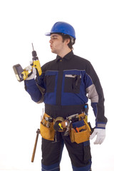 Construction worker with drill and with oder tools