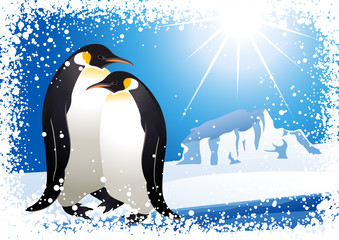 Penguins and snowflake frame, vector illustration