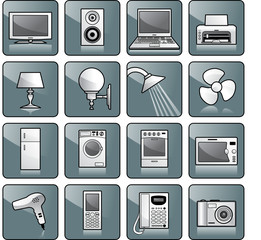 Icon set - home equipment, appliances. TV, stereo, computer