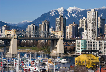 Burrard Bridge and Downtown Vancouver in sunny winter day..