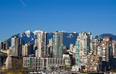 Downtown Vancouver in sunny winter day.