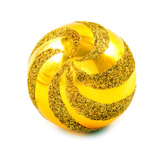 Yellow gold christmas ball over white