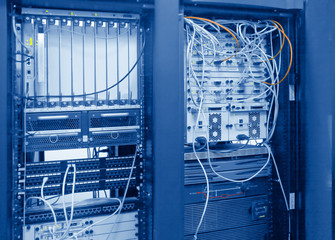 Blue toned image of internet icenter equipment