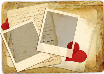 vintage romantick background with hearts and love letter