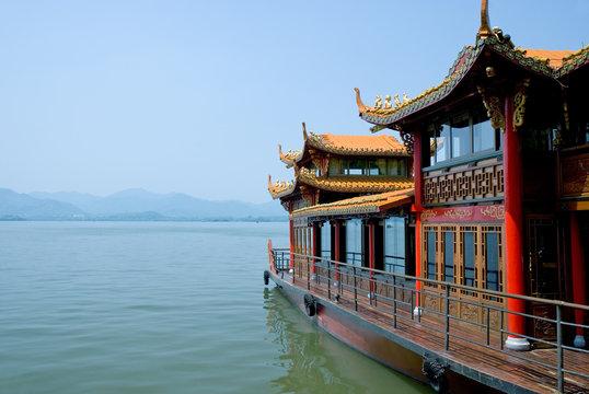 Traditional ship on the Xihu (West lake), Hangzhou, China