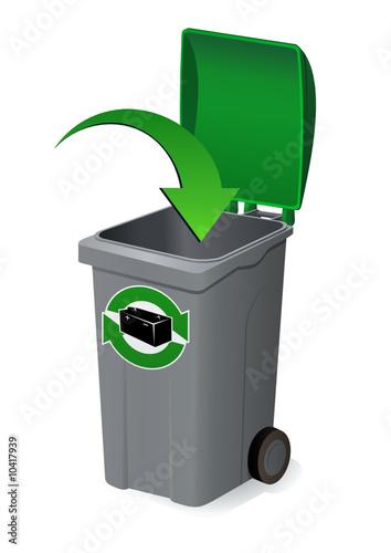 d poser dans la poubelle verte du recyclage des batteries fichier vectoriel libre de droits. Black Bedroom Furniture Sets. Home Design Ideas