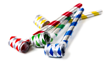 A group of colorful party noisemakers