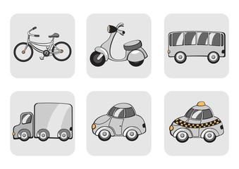 Vector Illustration of transportation icons