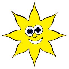 Happy Sun Cartoon - Isolated on white