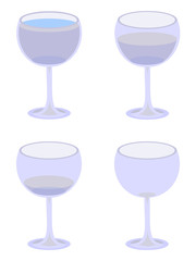 Four Vector Water Glasses on White