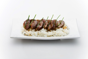 Duck with ginger sauce and rise