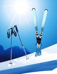 Ski, vector illustration